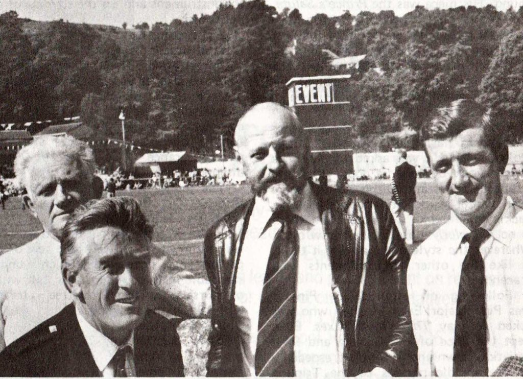 Argyllshire Gathering, 1981: Left to right: Fred Morrison Snr, Ed Clarke, Evan MacRae and Pipe Major Iain Morrison.