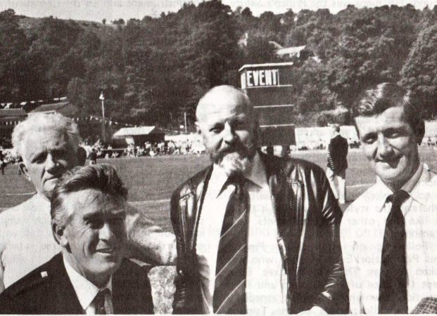 Argyllshire Gathering, 1981: Left to right: Fred Morrison Snr, Ed Clarke, Evan MacRae and Pipe Major Iain Morrison.