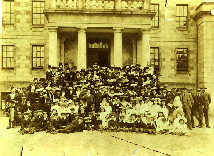 A garden party at Whitehaugh House, 1904. McHardy can be seen at the far left. He would've been 41 years old at the time. [Alford Heritage Centre and Museum].