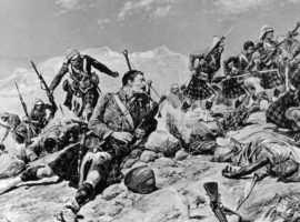 An artists impression of Findlater's winning of the Victoria Cross at the Heights of Dargai.