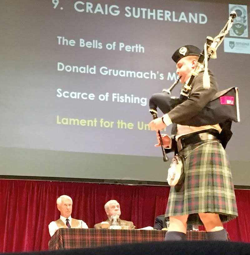 Craig Sutherland competing in the Clasp at the 2019 Northern Meeting for judges Malcolm McRae, Iain MacFadyen and Ian Duncan.