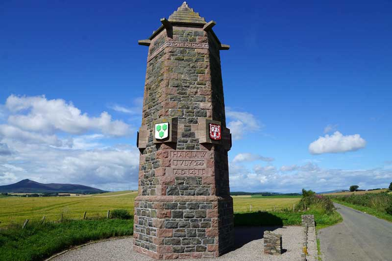 The monument at Harlaw near Inverurie erected in 1911 in memory of Provost Robert Davidson and the Burgesses of Aberdeen who fell here in 1411.