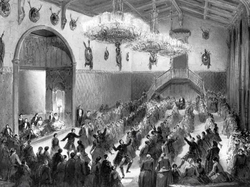 A contemporary sketch of the 1859 Ghillies' Ball.