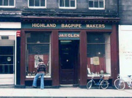 The Glen shop pictured in 1977. Through the initiative of Professor Hugh Cheape, the National Museum of Antiquities of Scotland purchased the bagpipe collections from the family in 1983.