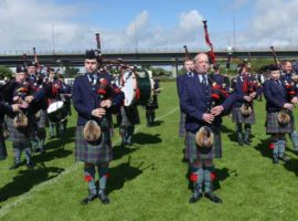 Perth & District Pipe Band about to compete at the British Pipe Band Championships in 2016.
