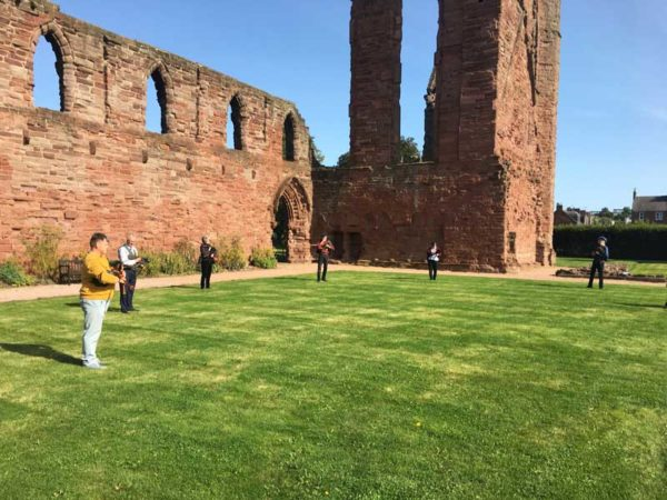 Members of the LBPS committee playing at Arbroath Abbey earlier today.