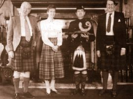 (L. to R.) Mr. Alastair B. Murray (Production Director, William Grant & Sons); Sally Grant Gordon (daughter of William Grant's Chairman, Mr. A. Grant Gordon); Pipe Major Gavin Stoddart and His Grace the Duke of Atholl who presented the prize.