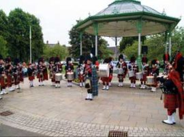 Kilsyth Pipe Band in 2016 playing at an event held in the town to mark the band's 125th anniversary.