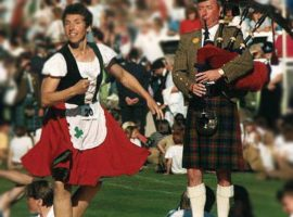Braemar, mid-1980s. Sandy Spence pipes for Jean Swanston.