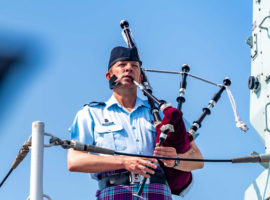 Maintaining helicopters, playing the bagpipes … one piper's life in Canada's military