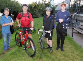 Finlay and Gordon complete charity cycle / Abbeyhill Pipe Band: plea for info. / Tour fund